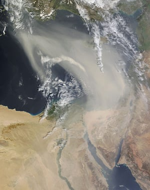 Satellite Eye on Earth: A thick plume of dust blew over the eastern Mediterranean Sea