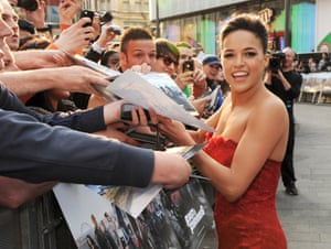 Michelle Rodriguez attends the World Premiere of 'Fast & Furious 6' at Empire Leicester Square in London, England.