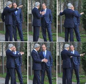 Diplomatic gestures: A combo image shows US Secretary of State John Kerry and his Russian counterpart Sergey Lavrov discuss while taking a walk in the garden of the Foreign Ministry Osobnyak in Moscow. Kerry arrived in Moscow for talks with Russian President Vladimir Putin, seeking to restore frayed US-Russia ties and win Moscow's support on the war in Syria. Photograph: Mladen Antonov/AFP/Getty Images