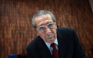 Former Guatemalan dictator Efrain Rios Montt arrives at the Supreme Court of Justice for his genocide trial in Guatemala City. The trial has been up in the air after judges squabbled over who should hear the case following an order to annul nearly 18 months of proceedings.