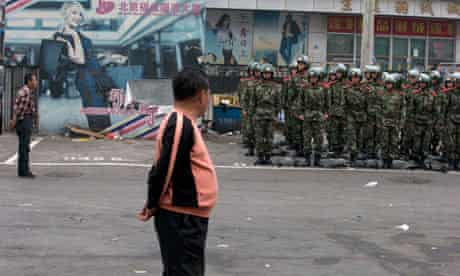 Chinese police guard shopping mall