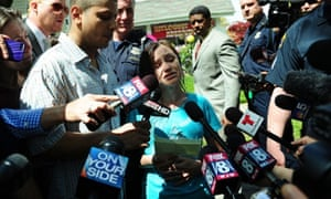 Beth Berry Serrano, the sister of Amanda Berry, speaks to the press after Amanda Berry arrived at her sister's home in Cleveland, Ohio. Three brothers have been arrested in connection with the kidnapping of three women, including Amanda Berry. They were found safe in a home after being missing for a decade, authorities said.