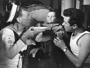 Bryan Forbes John Mills feeding baby