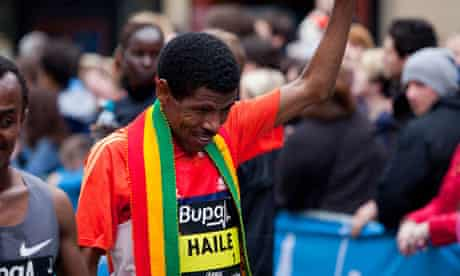 Haile Gebrselassie after winning the Bupa Great Manchester Run in 2012