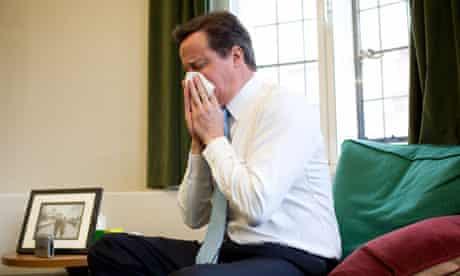 David Cameron blowing nose