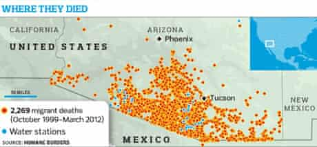 A map plotting the deaths of Mexican immigrants in the Arizona desert