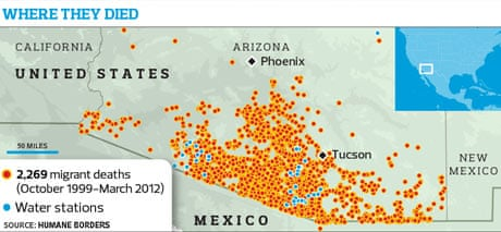Map Of Arizona Border.Death Map Of Deserts Aims To Save Lives Of Desperate Mexican