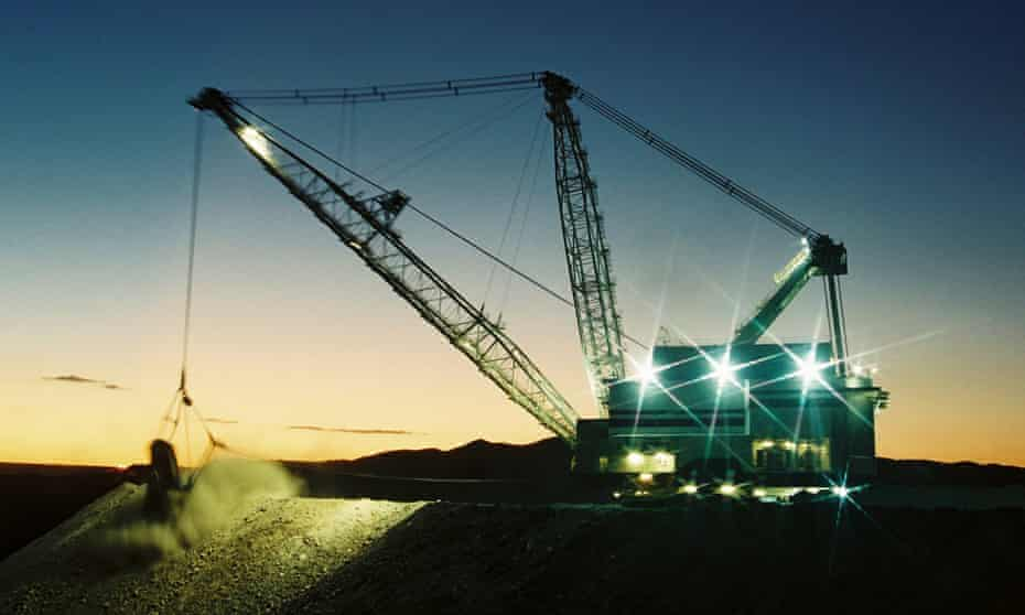 An excavator works at a Rio Tinto coal mine in the Hunter valley north of Sydney