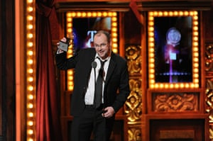 Tony awards: Dennis Kelly accepts the Tony award for Best Book of a Musical for Matilda,