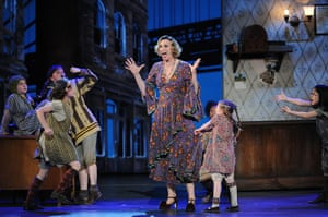 Tony awards: Jane Lynch, as Miss Hannigan, with the rest of the cast from Annie