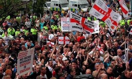 English Defence League march through Dewsbury