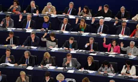 Members of the Parliament vote at the European Parliament in Strasbourg, France