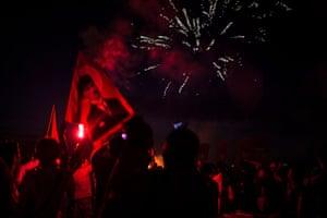 Turkey demonstrations: fireworks gundogdu square