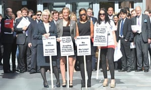 Lawyers in Manchester protest against the legal aiod cuts.