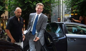 Poul Thomsen, representative of the International Monetary Fund (IMF), arrives at the Finance Ministry to meet with Greek Finance Minister Yannis Stournaras (not pictured), in Athens, Greece, 10 June 2013.