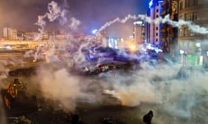 Taksim Square is flooded by tear gas as clashes between protesters and riot police continue earlier this evening.