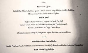 A photo of the menu from a fundraiser for Queensland Liberal National Party candidate Mal Brough.