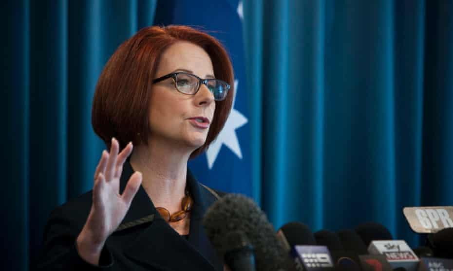 Julia Gillard speaks to the media in Perth