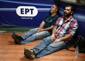 Protesters sleep inside the Greek state television ERT headquarters in Athens June 12, 2013.