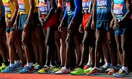 Elite male athletes line up at the star of the London Marathon on April 21st 2013 in London