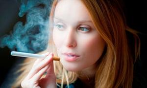 Woman smoking an electronic cigarette