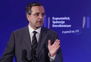 Greece's Prime Minister Antonis Samaras today, during an agreement signing with the European Investment Bank (EIB) in Athens June 12, 2013.