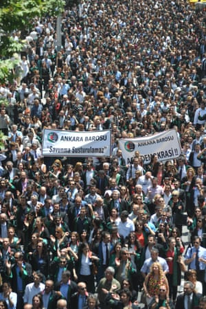 Turkish lawyers march in support of anti-government protests in Ankara on 12 June 2013.