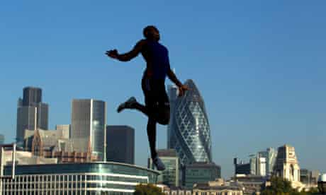 long jump over city