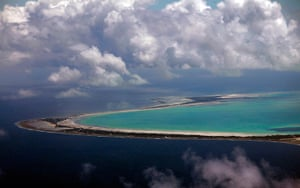 Kiribati, Pacific island: North and South Tarawa are seen from the air in the central Pacific Island