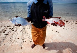 Kiribati, Pacific island: Kaibakia Pinata holds the fish he caught in his nets off Bikeman islet