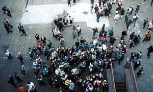 Schoolchildren at a secondary school in Glasgow