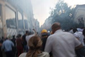 Turkey demonstrations: people running