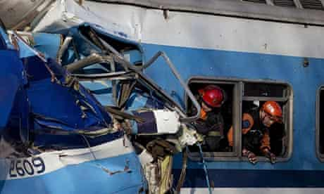 Rescue workers inside the wreckage after a train crash in Buenos Aires.