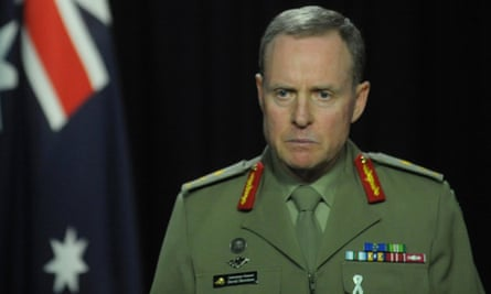 The chief of army, Lt Gen David Morrison, addresses the media.