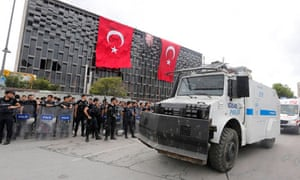 Turkish riot police take up position at Taksim Square in Istanbul