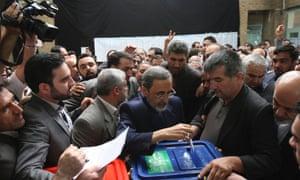 Presidential candidate Ali Akbar Velayati  casts his ballot.
