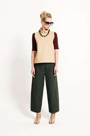 All Ages Khaki: trousers contrast back top necklace sunglasses