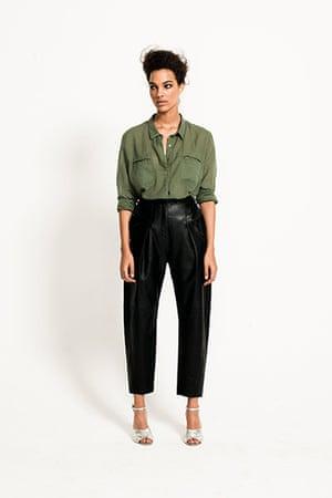 All Ages Khaki: khaki shirt long sleeves leather black trousers
