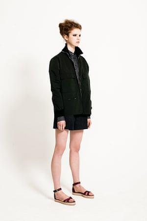 All Ages Khaki: silk shirt jacket shorts flat sandals