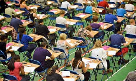 A-level students sitting an exam