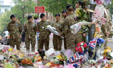 Members of the 14th Regiment Royal Artillery visit the site where Lee Rigby was murdered in Woolwich