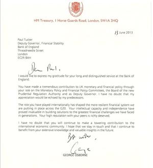 George Osborne letter to Paul Tucker