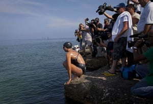 20 Photos: Chloe McCardel at the start her swim from Havana to Florida