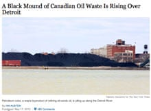 New York Times report on the growing pile of petrocoke in Detroit
