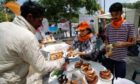 Volunteers at a food stall in Gezi Park, Istanbul, during protests against the Turkish government