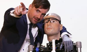 Bertolt Meyer with a 'bionic man' modelled on himself