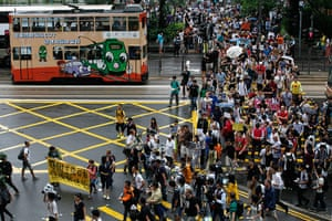 Hong Kong Rally: Supporters of Edward Snowden on the march to the US Consulate General
