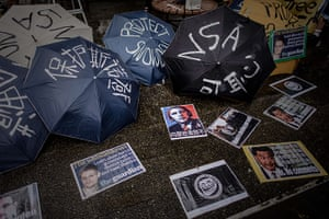 Hong Kong Rally: Umbrellas before a protest march in support of Edward Snowden