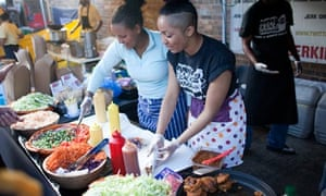Mama's Jerk station in action at Street Feast in Dalston, London.