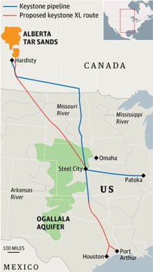 Proposed route for the Keystone XL pipeline